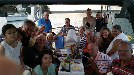 "Drinks and nibbles onboard ""China Girl"""
